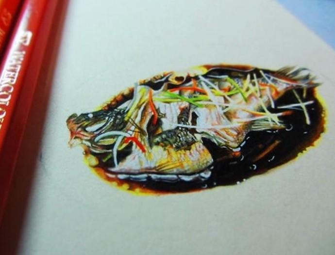 武汉理工女生手绘美食令人垂涎