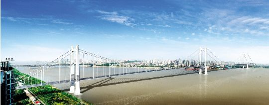 武汉鹦鹉洲长江大桥效果图.图片